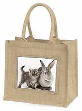 Silver Grey Cat and Rabbit Large Natural Jute Shopping Bag Christmas G, AC-62BLN