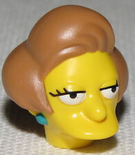 Lego New Yellow Minifig Head Modified Simpsons Edna Krabappel Piece