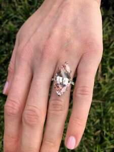 Impressive 15.09CT Marquise Cut Light Pink Morganite & Pave CZ Solitaire Ring