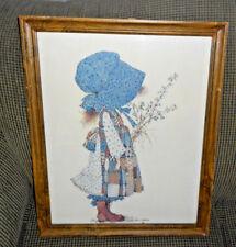 "Vintage HOLLY HOBBIE 18x22"" Wood Framed Picture NICE!"