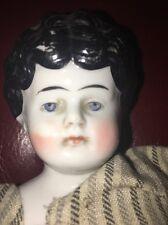 """Antique German 13"""" Bisque China Head Doll Civil War Era 1800's"""