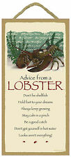 Advice from a Lobster Inspirational Wood Nautical Nature Sign Plaque Made in Usa