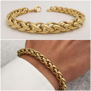 Bracciale da uomo in acciaio inox con catena braccialetto intrecciato oro maglia