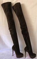 6a00ae1f09 AUTH CHRISTIAN LOUBOUTIN Gazolina Suede Platform Thigh High Boot Daf Heel  36/6