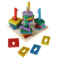 Montessori Match Geometric Sorting Board Wooden Blocks Kids Educational Toys