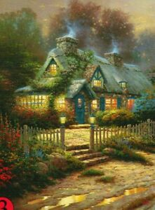 """Kinkade """"TEACUP COTTAGE"""" House Sunset 300 Pieces BOXLESS Jigsaw Puzzle *NEW*"""