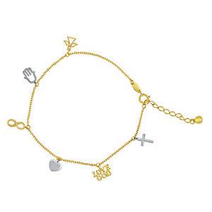 14k Two-tone Gold Faith Charm Light Chain Bracelet