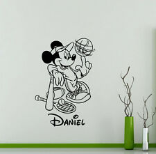 Personalized Mickey Mouse Wall Decal Sport Custom Name Disney Vinyl Sticker 85ct
