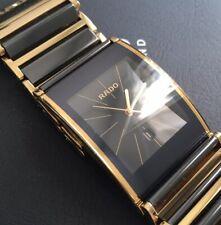 Mens Genuine Rado Integral Black Gold Ceramic Watch R20787163 Swiss Rectangular