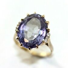 Vintage 10K YELLOW GOLD, CZ, Syn. Alexandrite Womens Ring: Size 6, 5.2 Grams