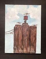 Acrylic Painting Seagulls Beach Pier Ocean Original Hand Painted Beulah  Artist