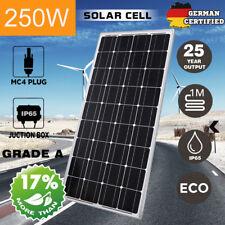 250W 12V Single Solar Panel Mono Camping Caravan Power Charger Battery 250Watt