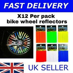 12 Pack Bicycle Wheel Spoke Reflectors Bike Cycling Reflective Tubes Clip On