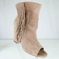 Dolce Vita Beige Faux Suede Ankle Boots Size 9 M Fringe Open Toe Booties Shoes