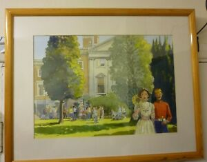 Large Framed Water Colour By Eric Dawson Called Copped Hall Then And Now 2002