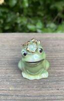 "VTG Frog Figurine Miniature Signed Madeline Ceramic Green With Gold Trim 1 3/4"""