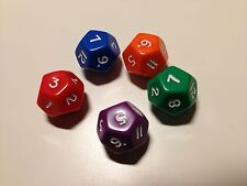 5 x D12 Coloured Dice - 12 (Twelve) Sided Dice - Numeracy Teaching Resource D032