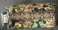 MaggiB Floral Quilted Cloth Clutch Wallet Wristlet Brown/Green