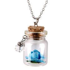 Mini Jewelry Gift Fluorescent Vintage Wishing Bottle Flower Necklace Glowing Blue