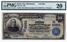 Rush City, Minnesota  First NB  $10 1902 DB  CH# 6954  PMG 20