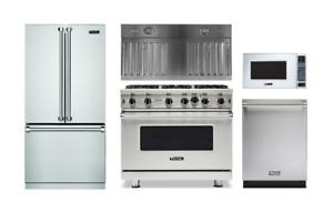 "Viking Pro 36"" Gas Range, Refrigerator, Dishwasher, Hood Insert & Microwave"