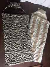 TWO Pottery Barn Teen Fuzzy Faux Fur Animal Print Sleeping Bags - NICE!!!