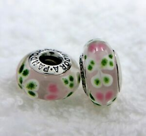 2 PANDORA Silver 925 ALE Murano Charm Pink Green Butterfly Beads #457M