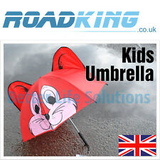 Kids Umbrella | Childrens Novelty Brolly Ears Eyes Childs Fun Boys Girls - Red
