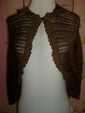 """Say What?"" Brown Sweater Bolero with 3/4 Sleeves and Button Front Size: Medium"