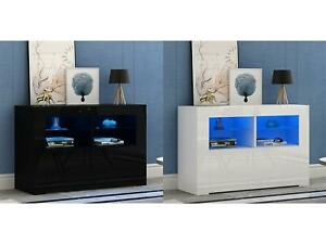 NEW Sideboard TV unit cabinet Cupboard Matt Body and High Gloss Doors LED Light