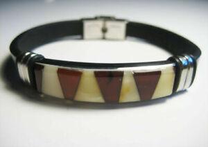 Baltic amber bracelet yellow elegant black Leather Exclusive