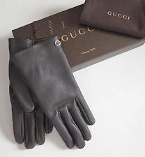 NWT Auth GUCCI Brown Leather CASHMERE Lined INTERLOCKING G Detail Gloves 10