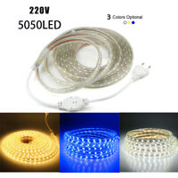 blanco calido 220V Flexible Lampara cinta Luz de tira del LED 3014 SMD 5050 LED