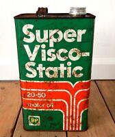 Vintage BP Super Visco-Static Motor Oil Can 5 Litre Car Enthusiast Automobilia