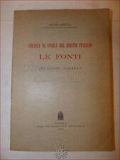ASTUTI, Guido: LEZIONI STORIA DIRITTO ITALIANO LE FONTI 1953 Padova Roma Barbari