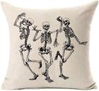 MFGNEH Halloween Skull Pillow Covers, Home Decor Cotton Linen Sofa Throw Pillow