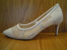 Bridal Wedding Shoes White Lace Kitten Heel Wide Fit Pointed Court Size 7 NEW