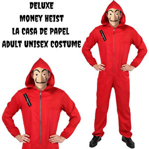 Salvador Dali La Casa De Papel Money Heist Red Jumpsuit Mask Costume Hoodie