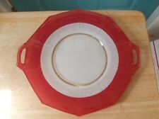 Vintage Frosted Handled Glass Cake Plate with Red Band
