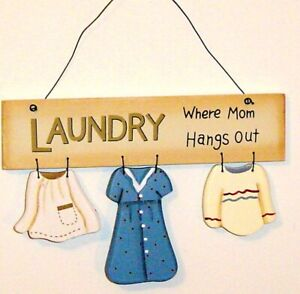 Laundry Room Sign Where Mom Hangs Out cute home decor