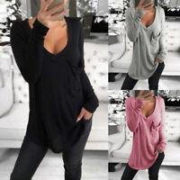 Mode Femme Haut Quotidien Ample Mince Manche Longue Col V Confortable Tops Plus