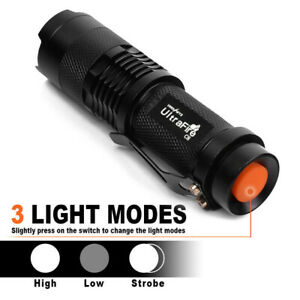Ultrafire Tactical Flashlight T6 LED 14500 50000LM Torch Zoomable Lamp Light UK