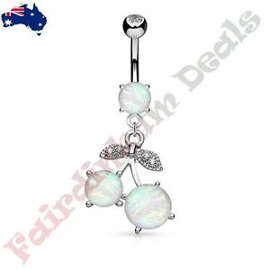 316L Surgical Steel Clear Gem Belly Ring with Wite Glitter Opal Cherry Dangle