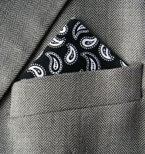 SUPERNOVA SCARVES Black & White Paisley Pocket Square Handkerchief Mod Indie
