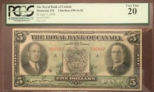 The Royal Bank of Canada 1933 $5 Graded Very Fine 20