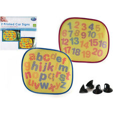 PK 2,FIRST STEPS CAR SUN SHADES,NO'S & ALPHABET,Easy Fold,Baby/Child Safety.