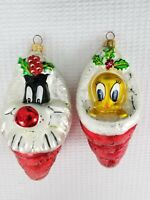 Christopher Radko Tweety and Sylvester in Stockings Ornaments