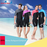 1.5mm Diving Suit Front Zipper Short Sleeve Shorty Wetsuit Swimwear Snorkeling