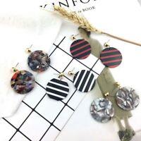 Fashion Women Acrylic Round Pendant Dangle Drop Statement Earrings Jewelry