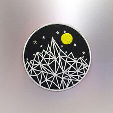 Moon Mountain Patch — Iron On Badge Embroidered Motif — Fun Travel Retro